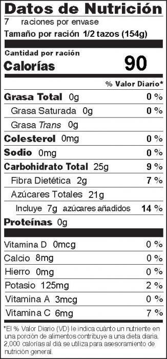 Foto de información nutricional de Puré de Manzana en el Horno de Microondas