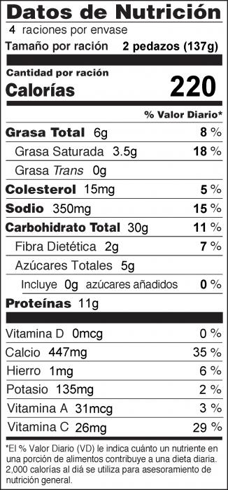 Foto de  información nutricional de Quesadillas con Peras