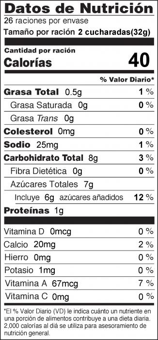 Foto de  información nutricional de Crema para Untar de Calabaza con yoga sin sabor