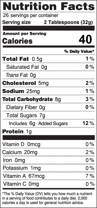 Photo of Nutrition Facts for Pumpkin Fruit Dip with plain yogurt