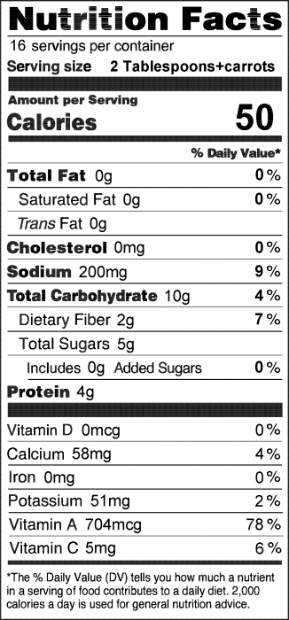Photo of Nutrition Facts of Ranch Dip with carrots