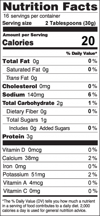 Photo of Nutrition Facts of Ranch Dip