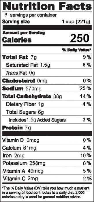 Photo of Nutrition Facts for Tomato Pasta Salad