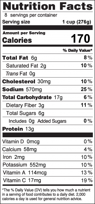 Photo of Nutrition Facts of Vegetable Beef Soup