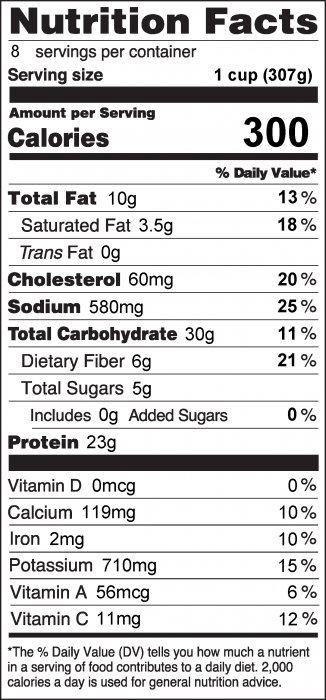 Photo of Nutrition Facts of White Chicken Chili