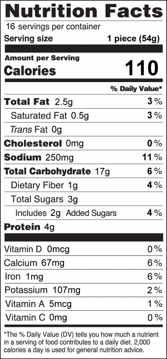 Photo of Nutrition Facts of Whole Wheat Quick Bread