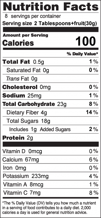 Photo of Nutrition Facts for Yogurt Fruit Dip and Fruit