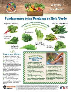 Leafy Greens Monthly in Spanish.