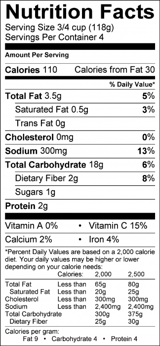 Photo of Nutrition Facts of Potato Pals