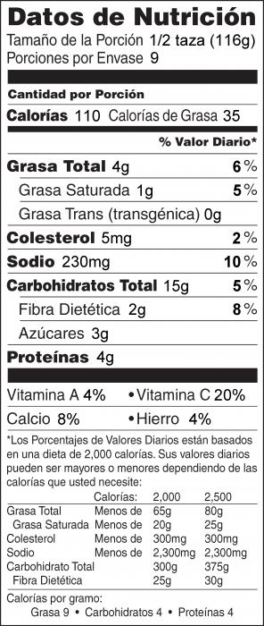 Foto de  información nutricional de Gratinado de Papas y Nabos
