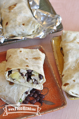 Photo of Chicken and Black Bean Salsa Burritos