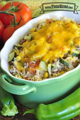 Foto de Comida Mexicana de Vegetales con Carne a la Sartén