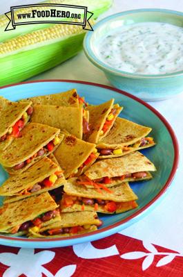 Foto de Quesadillas Vegetarianas con Salsa de Yogur y Cilantro