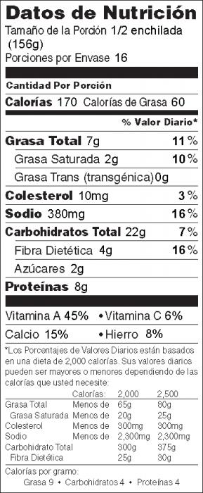 Foto de  información nutricional de Enchiladas de Espinacas y Frijoles Negros
