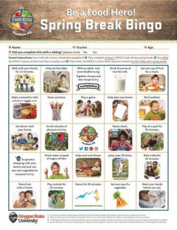 2018 Spring Break Bingo Card - English