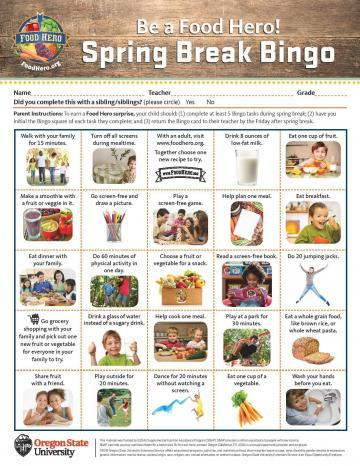 2019 Spring Break Bingo Card - English