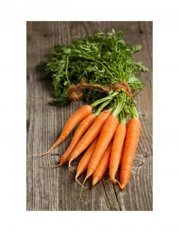 Carrot Bunch on Wood