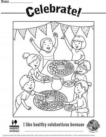 Healthy Celebrations Coloring Sheet - English