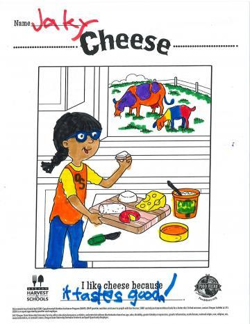 Colored In Cheese Coloring Sheet