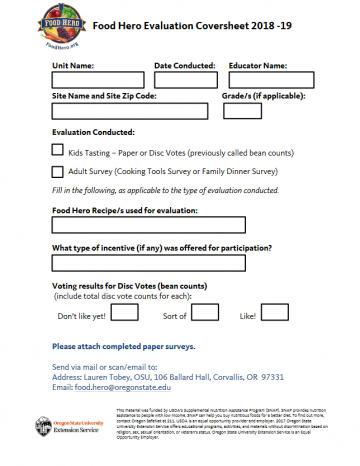 Food Hero Evaluation Coversheet