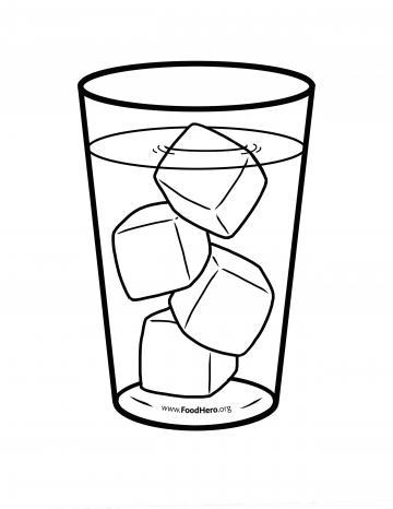 Water Glass with Ice Blackline