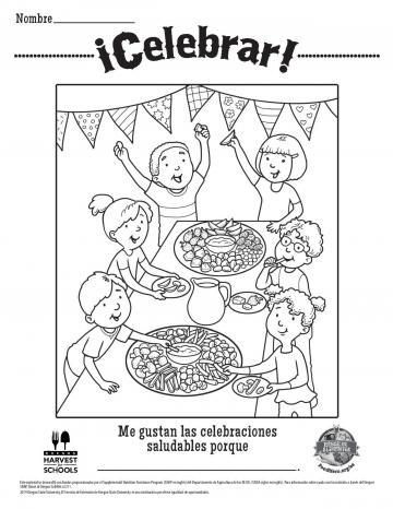 Healthy Celebrations Coloring Sheet - Spanish