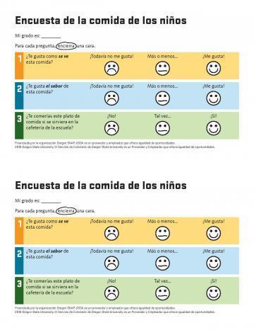 Kids Tasting Survey - Spanish