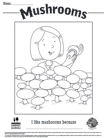 Mushrooms Coloring Sheet