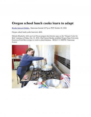 Oregon School Lunch Cooks Learn to Adapt