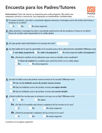 Parent Recipe Survey - Spanish