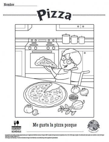 Hojas para Colorear de Pizza