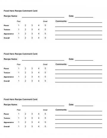 Comment Card - English