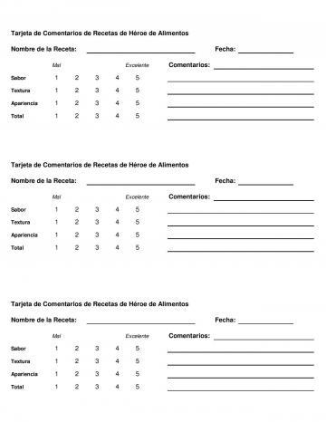 Comment Card - Spanish