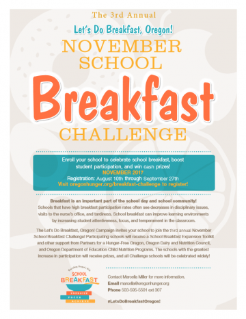 School Breakfast Challenge Flyer 2017