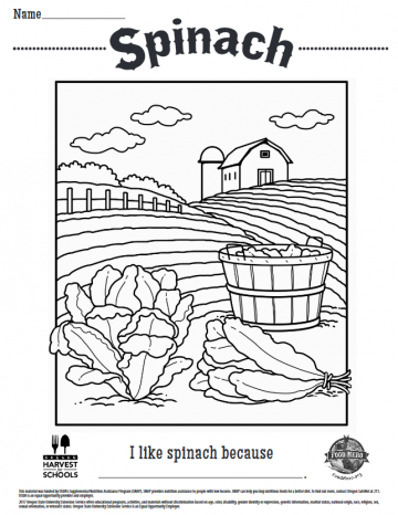 Spinach Coloring Sheet