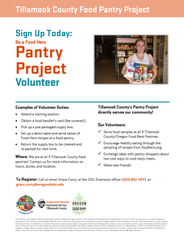 Tillamook County Food Pantry Volunteers Template English