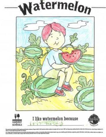 Watermelon Colored In Coloring Sheet