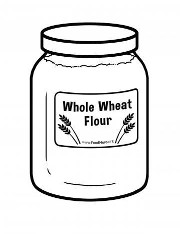 Whole Wheat Flour Blackline Illustration