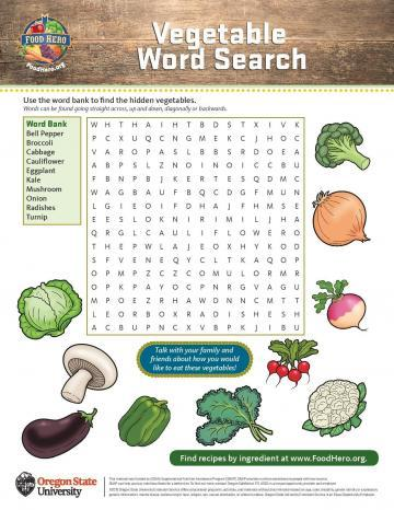 Vegetable Word Search