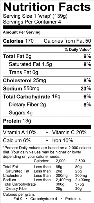 Photo of Nutrition Facts of Sunshine Roll-Ups