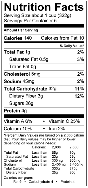 Photo of Nutrition Facts of Tropical Smoothie